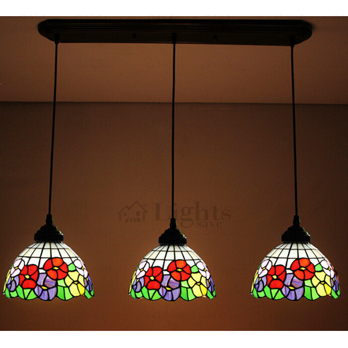 Beautiful Floral Stained Glass Downlight Multi Tiffany Pendant Lights