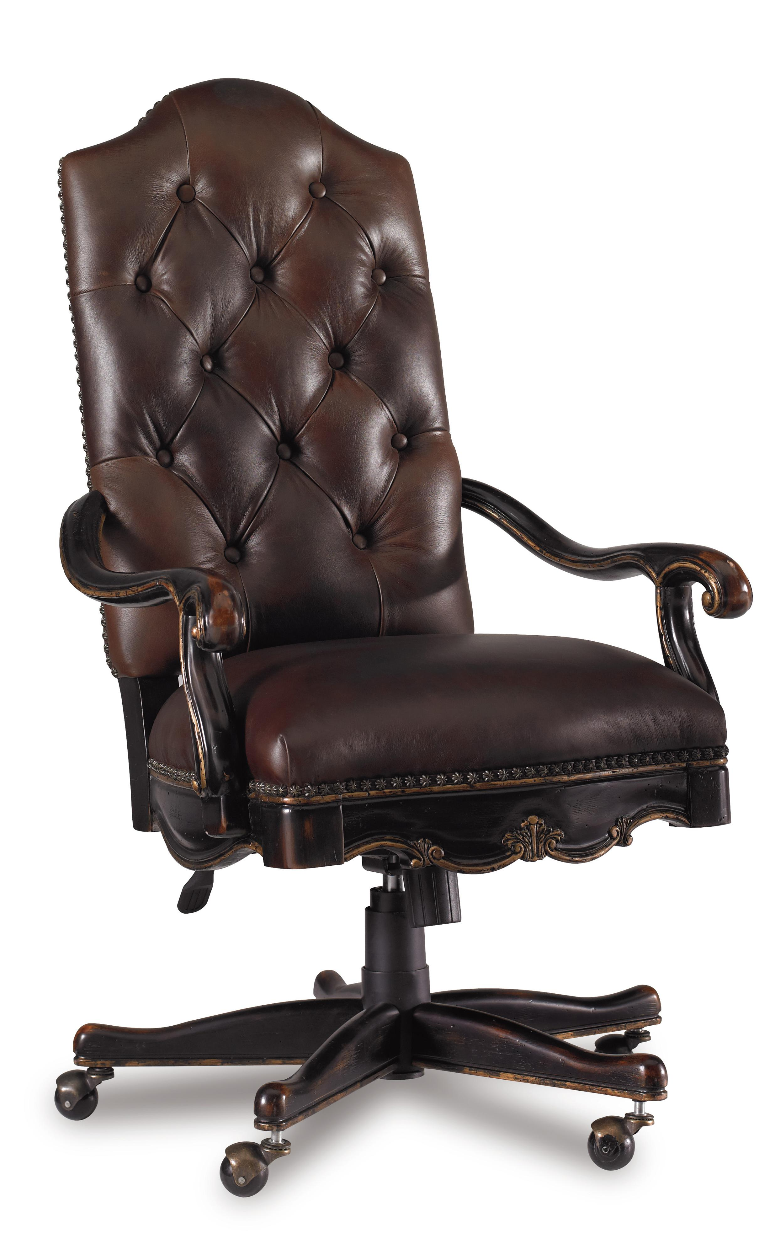 Hooker Furniture Grandover Tufted Leather Executive Office Chair with Tilt,  Swivel and Pneumatic Seat Height Adjustment