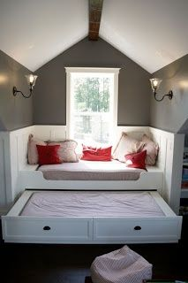 Level up a window seat by adding a trundle bed. Cool hack for Window Seat  and Extra Bed for Sleepovers.