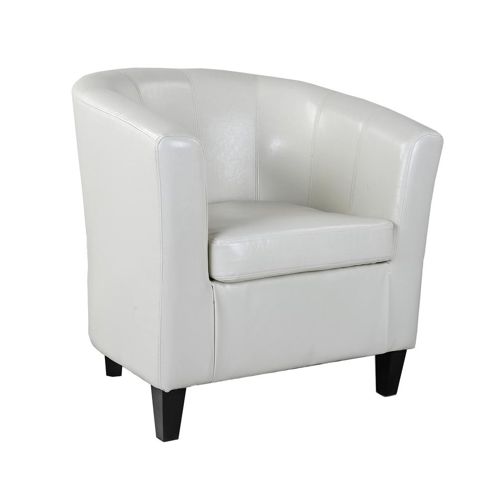 CorLiving Antonio Cream White Bonded Leather Tub Chair-LAD-715-C - The Home  Depot