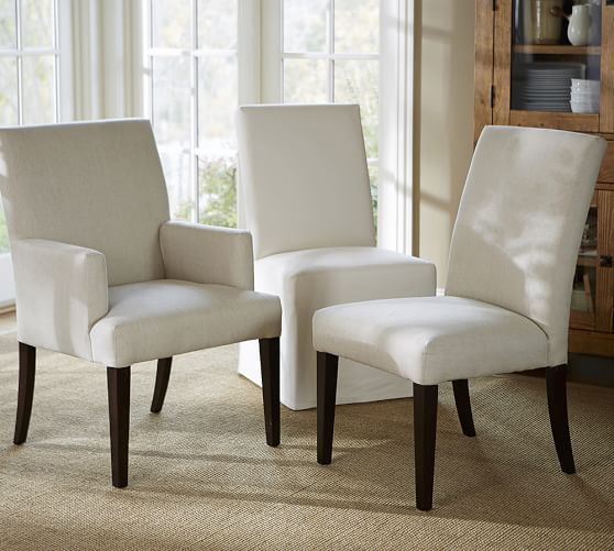 PB Comfort Square Upholstered Dining Chairs