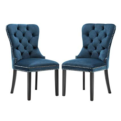 Elegant Tufted Upholstered Dining Chairs, Retro Velvet Dining Room Chair  Set of 2 with Nailed