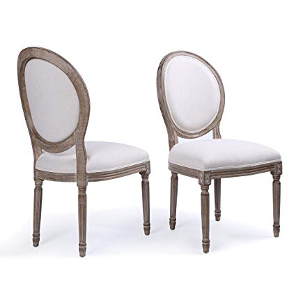 Belleze Set of (2) Classic Elegant Traditional Upholstered Linen Round Back Dining  Chairs w