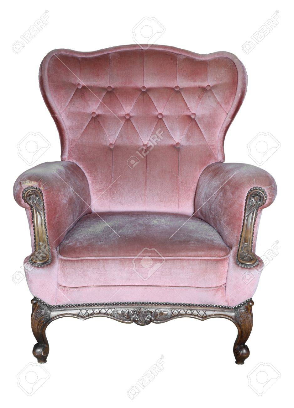 Stock Photo - Vintage Armchair Pink Fabric Classical Style Sofa