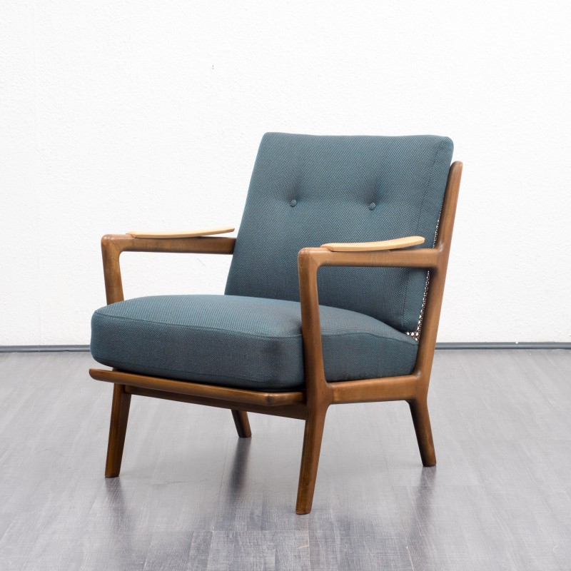 Vintage armchair in shapely solid beech wood frame - 1950s