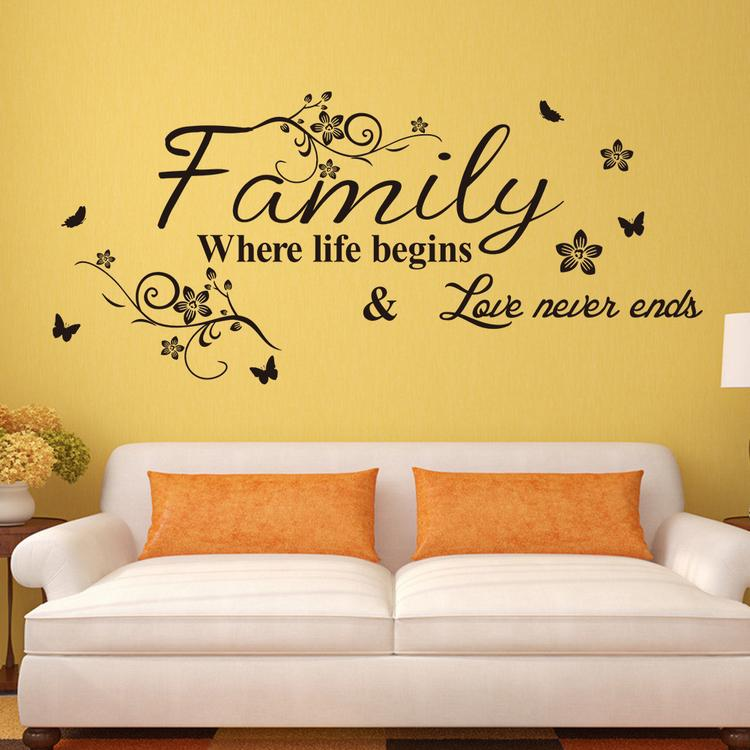 Vinyl Wall Art Decal Decor Quote Stickers Family Where Life Begins For  Living Room Decoration Wall Decor Sticker Wall Decor Stickers From Flylife,