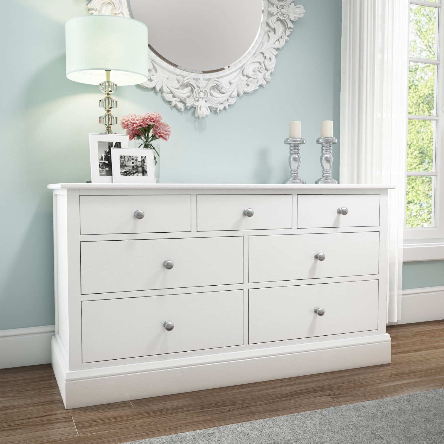 Harper White Solid Wood 4+3 Wide Chest of Drawers HRP005B