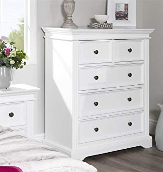 Gainsborough White Chest of Drawers, Large, very sturdy 2 over 3 drawer  chest.