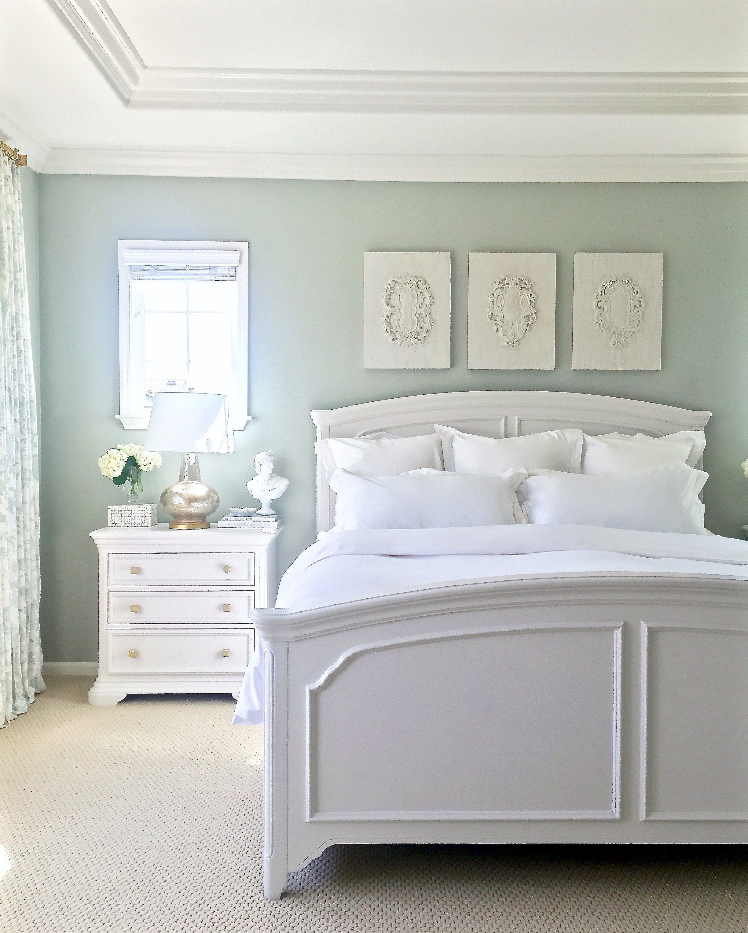 Sage (gray/green/blue tranquil spa-like feel), furniture is painted  Sherwin Williams (premium in Satin Finish) Elder White, Ballard Jardin  Toile drapes,