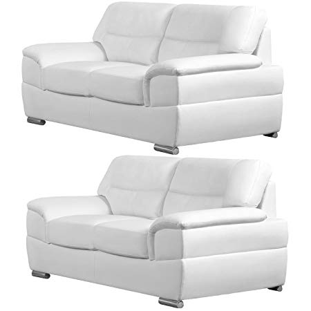 Manchester White Leather Sofas (All combinations available) (2+2 Seater):  Traveller Location.uk: Kitchen & Home