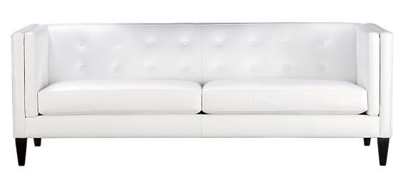 Aidan White Leather Sofa. View in gallery