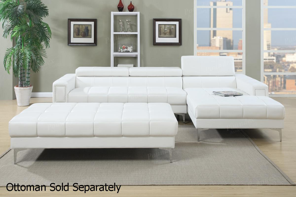 White Leather Sectional Sofa - Steal-A-Sofa Furniture Outlet Los Angeles CA
