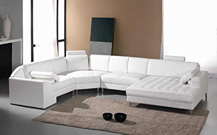 Vig Furniture Monaco White Leather Sectional Sofa #2236