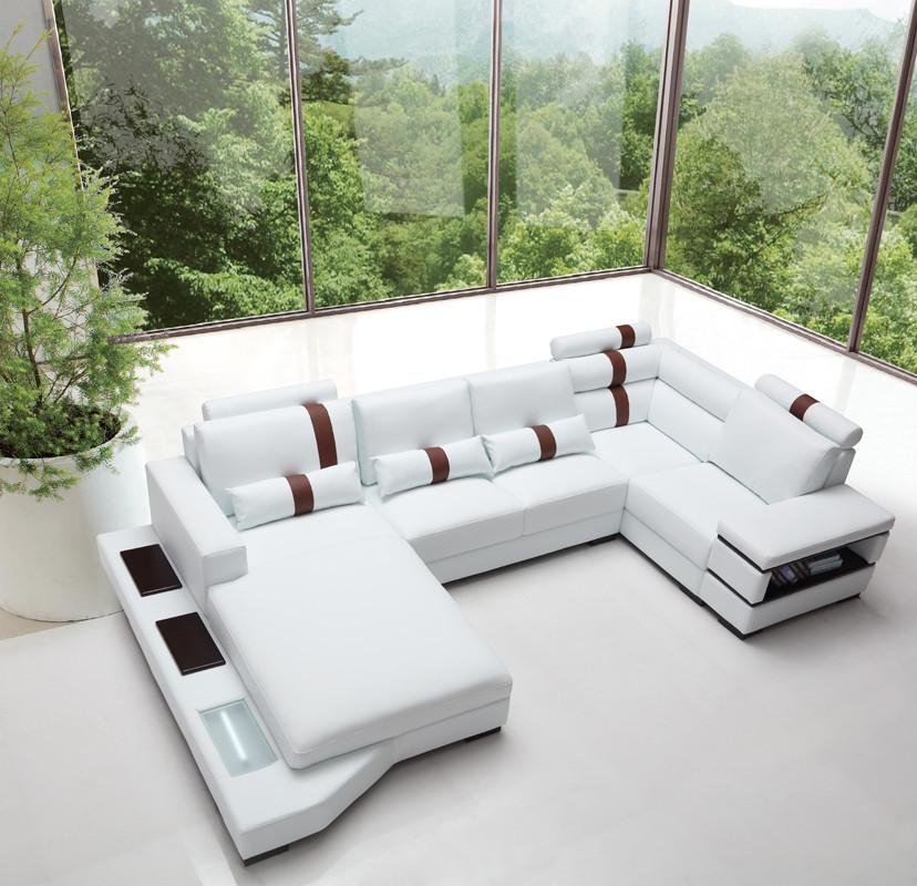 Your bookmark products. Massimo Modern White Leather Sectional Sofa