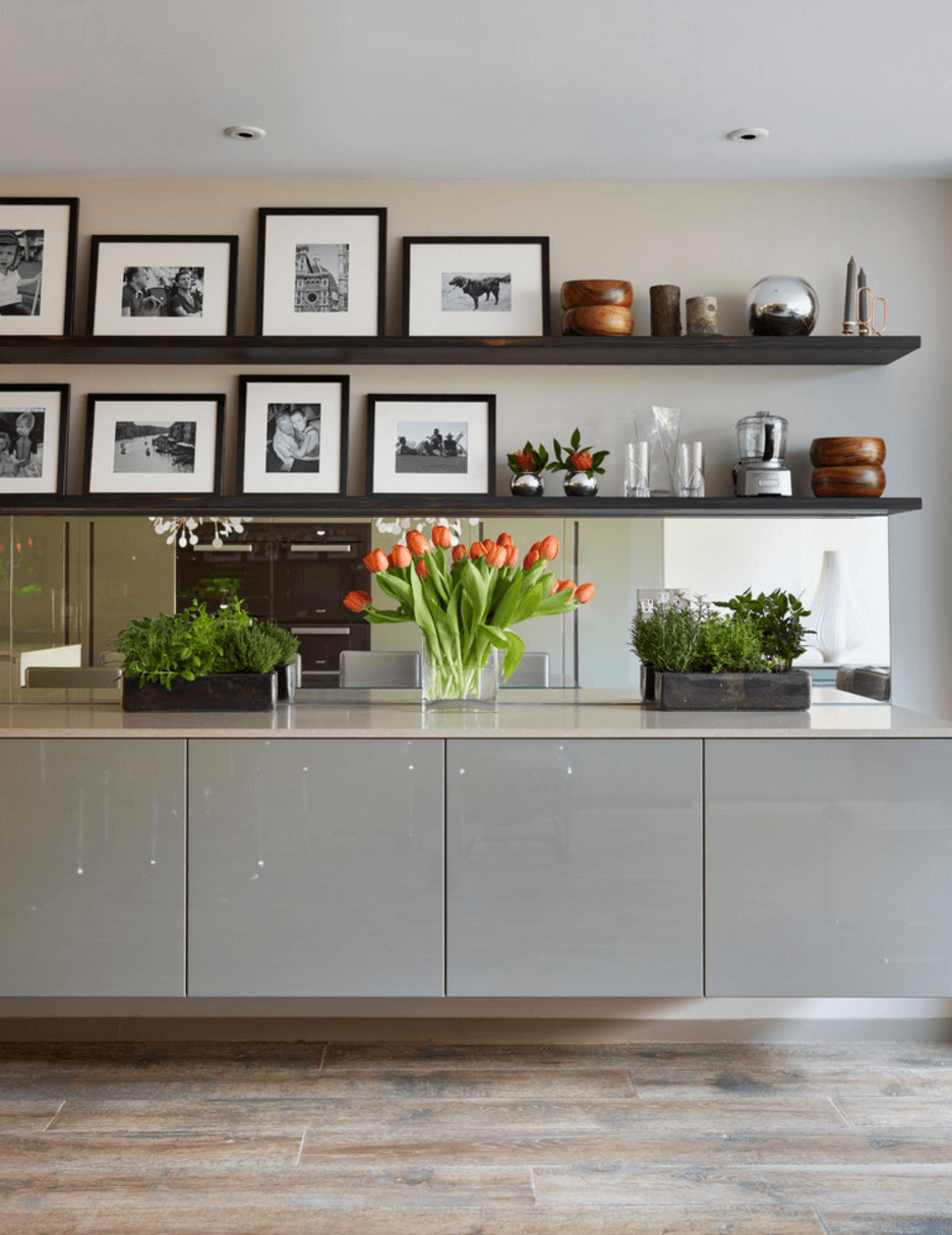 White Kitchen Open Shelving. Source. Modern Collection Wall