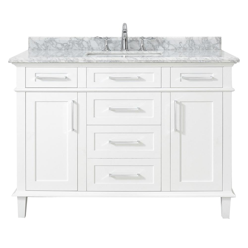 D Vanity in White with Carrara Marble Top with White Sinks
