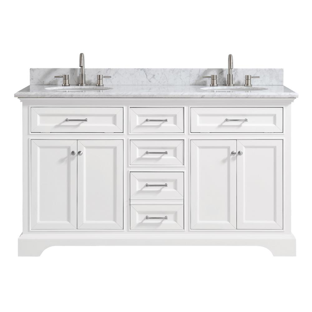 H Bath Vanity in White with Carrera Marble Vanity Top in White with White  Sink