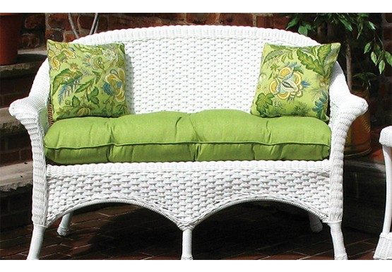 Sunbrella Fabric Wicker Loveseat Cushion - Sunbrella Fabric Wicker Loveseat  Cushion
