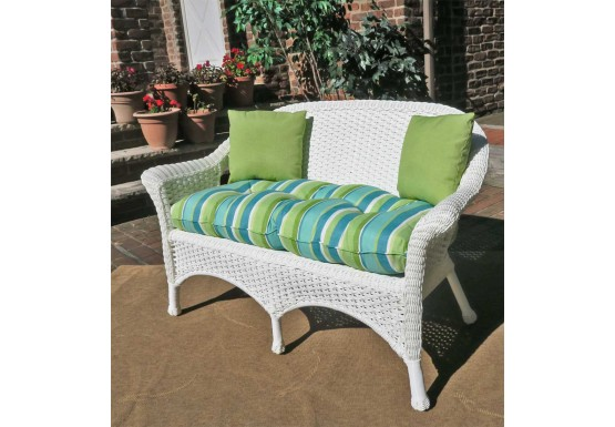 Veranda Resin Wicker Loveseat With Seat Cushion - WHITE