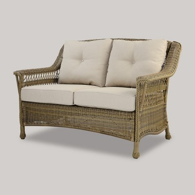 Cambridge All Weather Wicker Loveseat With Cushions - Threshold™ : Target