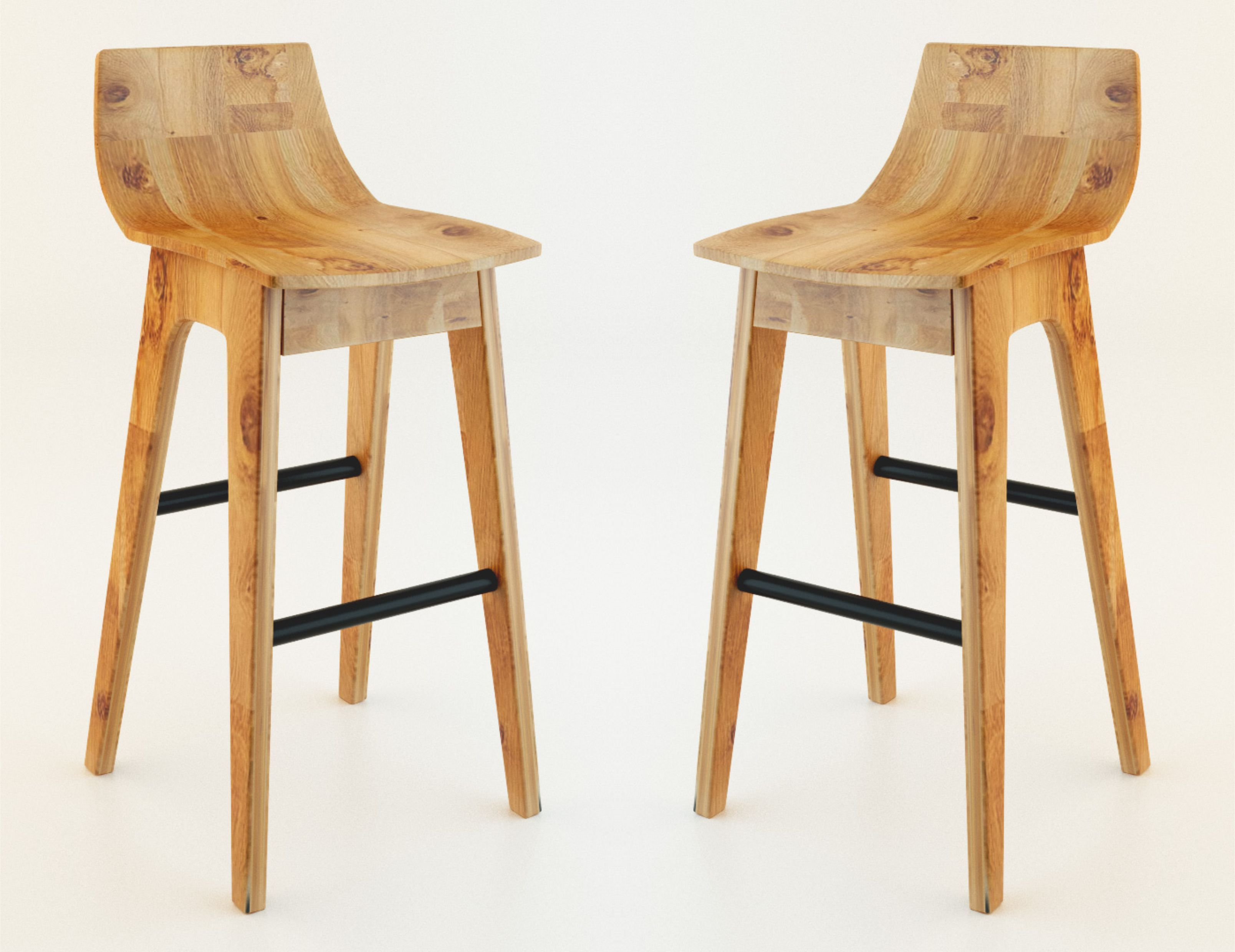 wooden bar stool 3D model