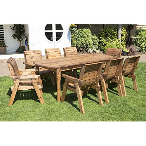 Wooden Garden Table and 8 Chairs Dining Set - Outdoor Patio Solid Wood  Garden Furniture