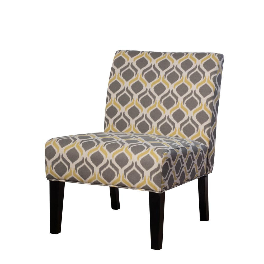 Noble House Galilea Yellow/Gray Pattern Fabric Accent Chair-297288 - The  Home Depot