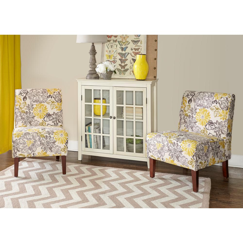 Linon Home Decor Lily Gray and Yellow Polyester Side Chair