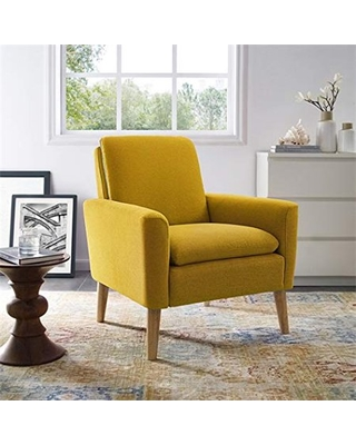 Dazone Modern Accent Fabric Chair Single Sofa Comfy Upholstered Arm Chair  Living Room Furniture Yellow