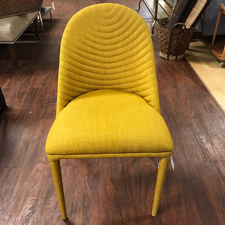 Yellow Upholstered Dining Chair. ; 